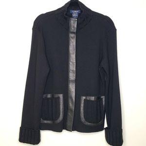 Clorinda Black Italian Wool Leather Trim Sweater